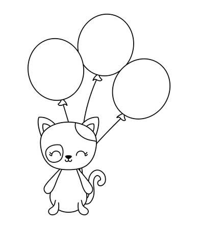 cute cat animal with balloons helium vector illustration design Illusztráció