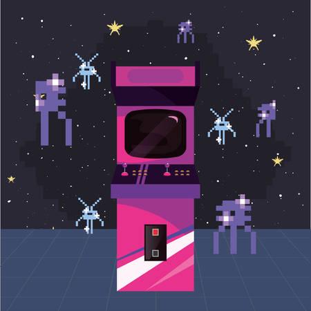 arcade machine invaders space video game retro vector illustration