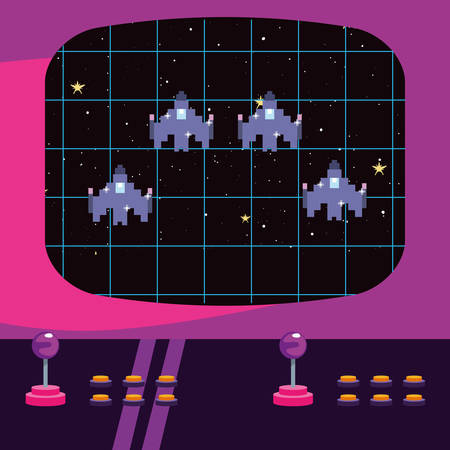 arcade game screen with pixel spaceship vector illustration Illusztráció
