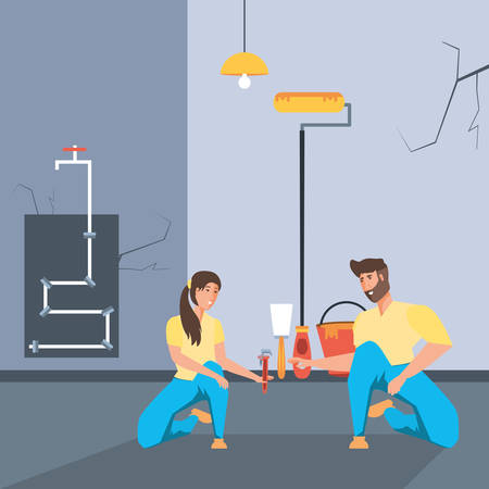 couple in interior of house under construction vector illustration design Standard-Bild - 128825862