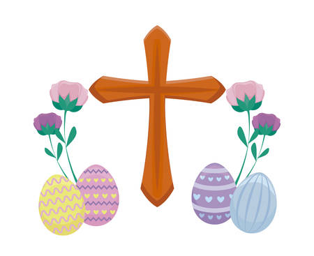wooden catholic cross with eggs of easter and flowers vector illustration design