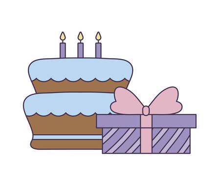 sweet cake of birthday with gift box vector illustration design Stock Illustratie