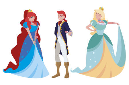 prince charming and two princess of tales characters vector illustration design Illustration