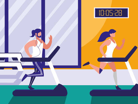 couple with runner machine in gym vector illustration design  イラスト・ベクター素材