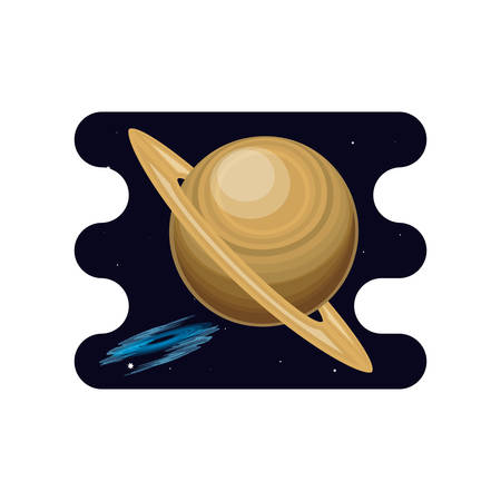 saturn planet with black hole scene space vector illustration design Illusztráció