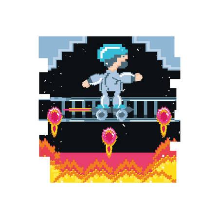 video game avatar pixelated with skateboard vector illustration design Illusztráció