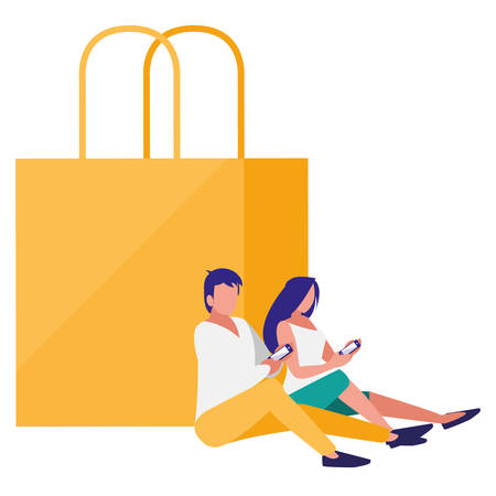 couple using smartphone with shopping bags vector illustration design Stock Illustratie