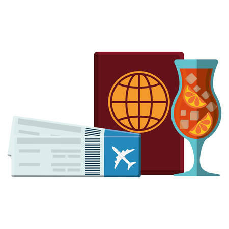 passport document with tickets flight and cocktail vector illustration design