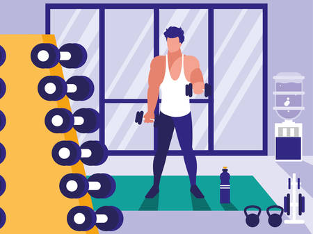 young man lifting dumbbells in gym vector illustration design