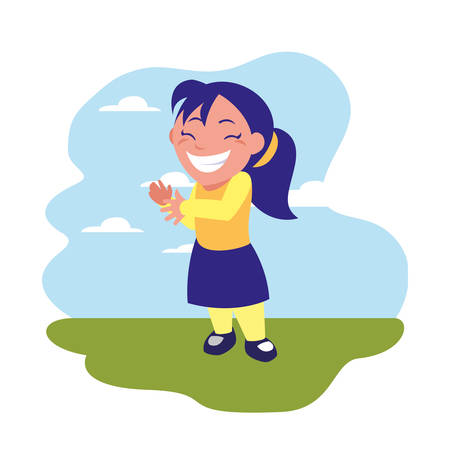 smiling girl celebrating in the outdoors vector illustration