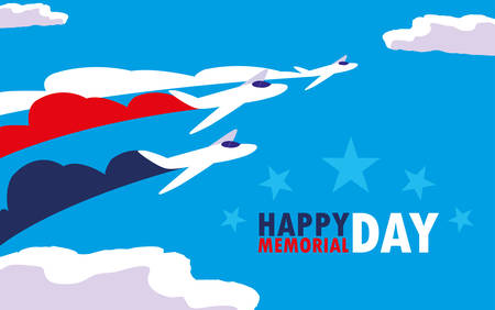 happy memorial day card with airplanes vector illustration design Ilustracja