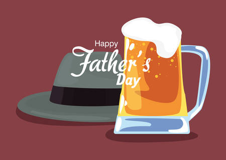 hat and beer happy fathers day vector illustration