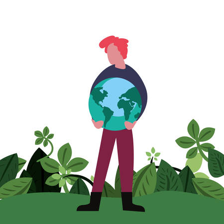 man world foliage field happy earth day Ilustrace