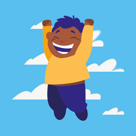 happy boy jumping clouds background vector illustration Stock Illustratie