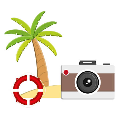 trees palms beach scene with camera and float vector illustration design