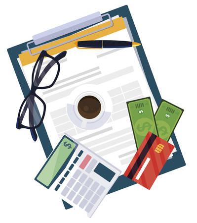 office supplies with calculator and set items vector illustration design Illusztráció