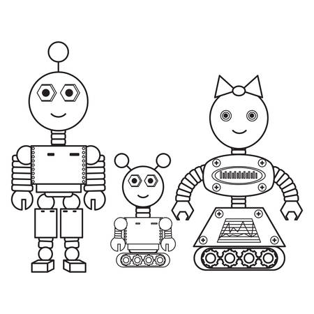 cartoon robots family icon over white background vector illustration