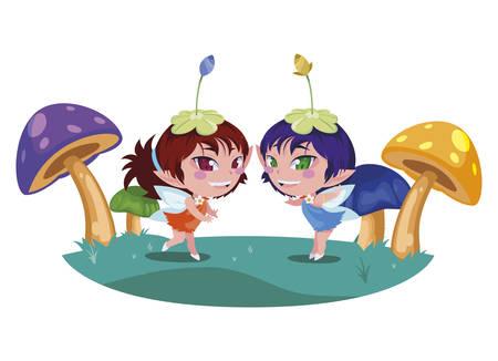 beautiful magic fairies in fungus camp vector illustration design