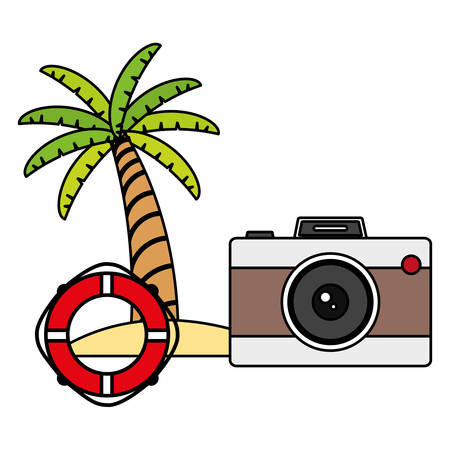 trees palms beach scene with camera and float vector illustration design Фото со стока - 128851974