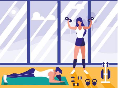 athletic women lifting dumbbells and doing chest push ups in gym vector illustration design Ilustração