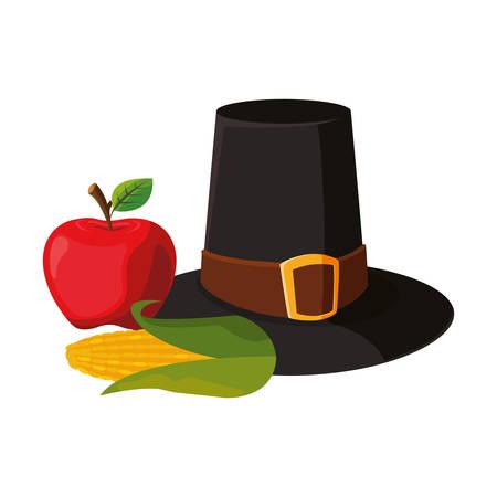 pilgrim hat apple cob thanksgiving celebrate background vector illustration