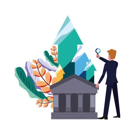 businessman with magnifier money bank vector illustration vector illustration