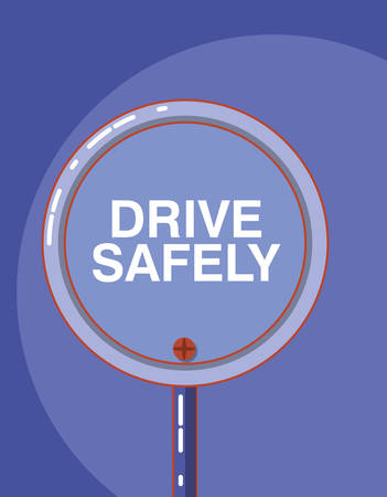 drive safely design with warning sign icon over purple background, colorful design vector illustration