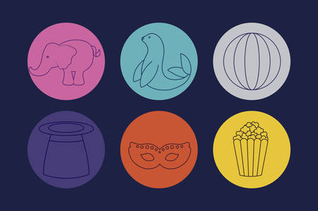wizard top hat with set icons of circus vector illustration design