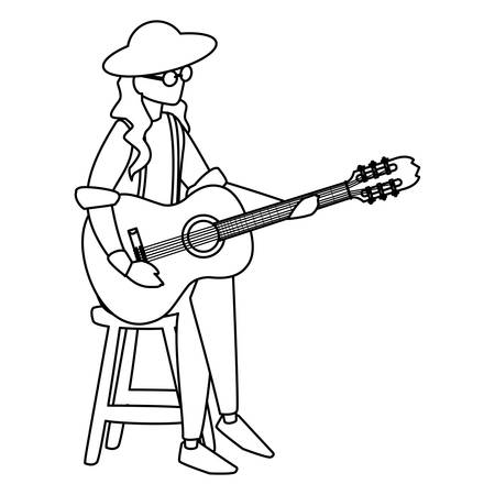 guitarist playing guitar character vector illustration design