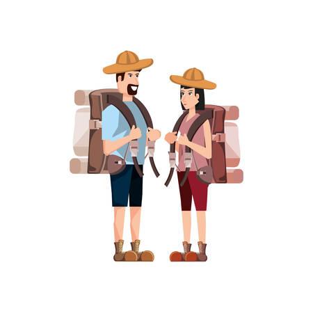 couple traveler avatar character vector illustration design 向量圖像