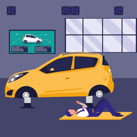 mechanic worker with car vehicle vector illustration design