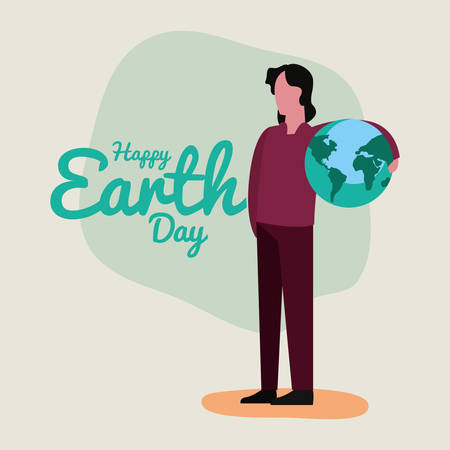 man with planet world happy earth day vector illustration Stock Illustratie