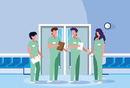 group of professionals doctors in hospital vector illustration design