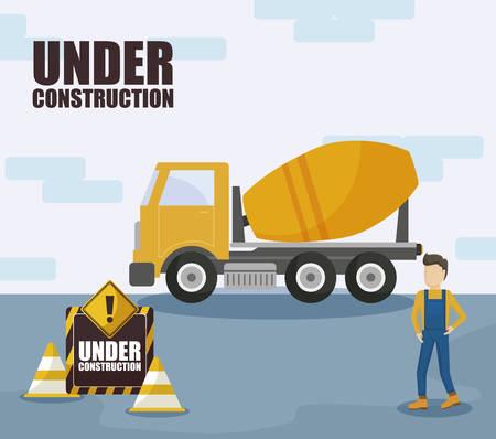 under constructionconcrete transport truck and worker vector illustration design Illustration