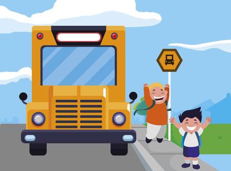 happy little schoolboys characters vector illustration design