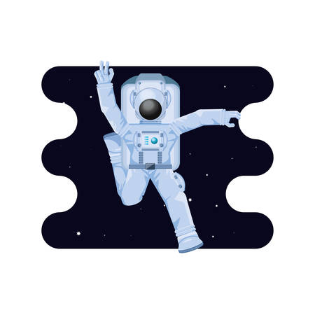 astronaut character in space scene vector illustration design