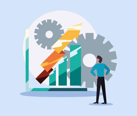 businessman chart gold arrow profit  vector illustration