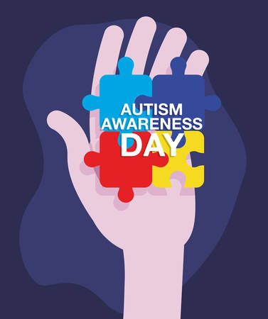 autism awareness day campaign hand with puzzles vector illustration