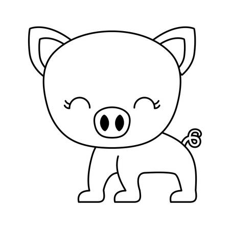 cute piggy animal isolated icon vector illustration design