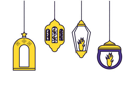 Ramadan Kareem lamps hanging vector illustration design Иллюстрация