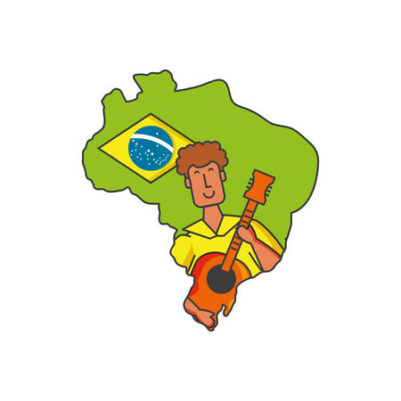 man brazilian dancer with guitar and map of brazil vector illustration design