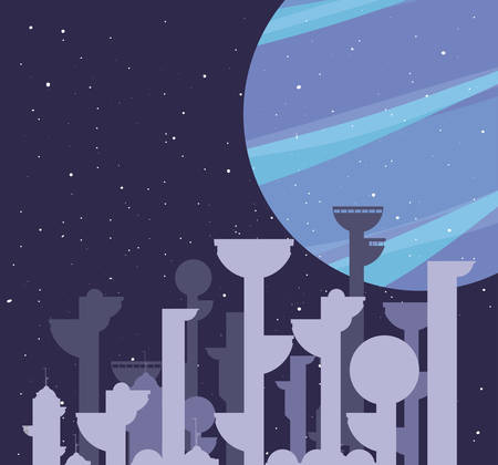future buildings architecture planet city space vector illustration