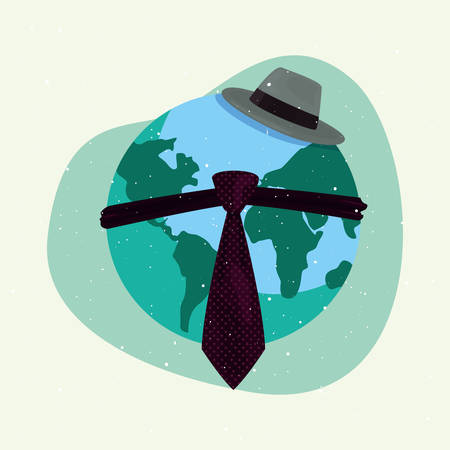 world tie hat happy fathers day vector illustration