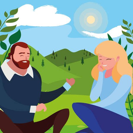 young couple seated in the field vector illustration design Ilustrace