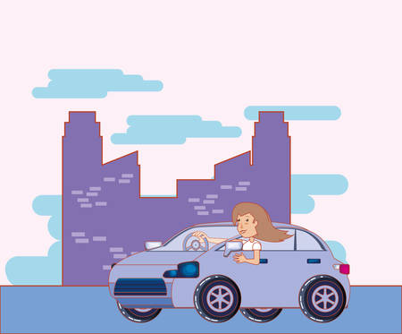 drive safely woman drive car in the city vector illustration
