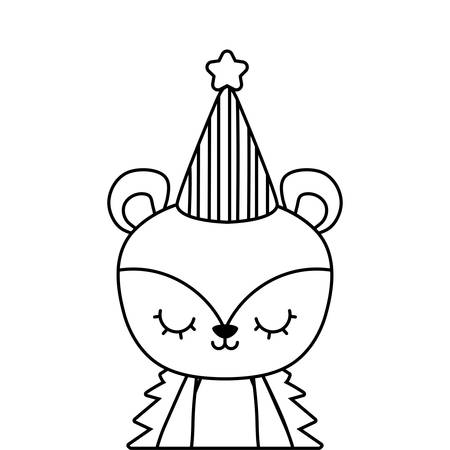 cute porcupine animal with hat party vector illustration design Ilustracja