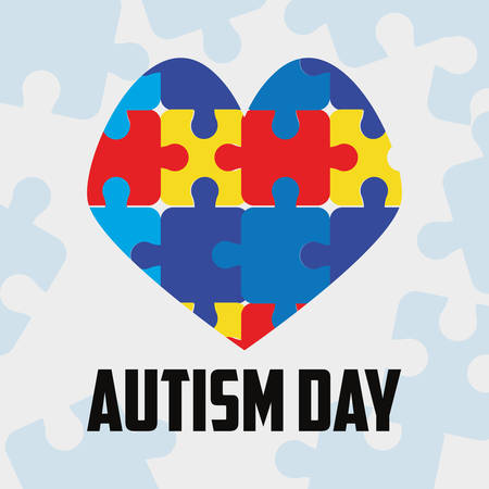 heart shaped puzzles autism day vector illustration
