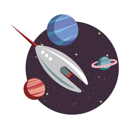 rocket spaceship cosmos planets vector illustration design