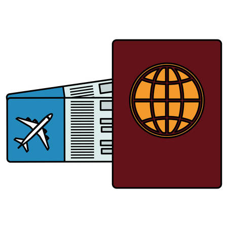 passport document with tickets flight vector illustration design
