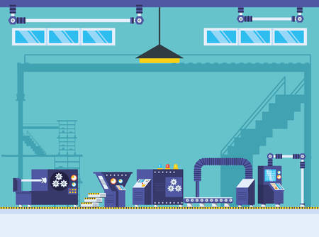 technified factory scene icon vector illustration design